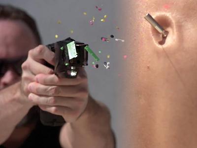 Stun gun use in slow motion